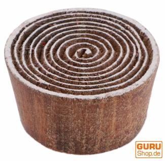 Indischer Textilstempel, Stoffdruckstempel, Blaudruck Stempel, Holz Model - Ø 5 cm Spirale 7
