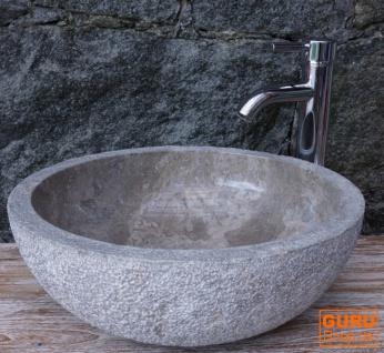 Massives rundes Marmor Aufsatz-Waschbecken, Waschschale, Naturstein Handwaschbecken - Ø 45 cm Modell 13