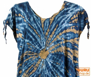 Boho Kaftan, langes Kurzarm Batikkleid, Strandkleid, Sommerkleid in Übergröße - blau - Vorschau 4