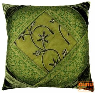 Orientalische Samt & Brokatkissenhülle, Kissenbezug, Dekokissen 40*40 cm - dunkelgrün Muster 1