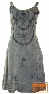 Besticktes Boho Sommerkleid, Midikleid, indisches Hippie Kleid in 3/4 Länge, anthrazit - Design 1