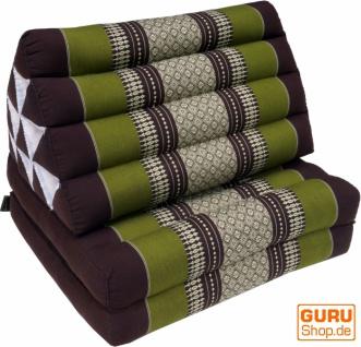 Thaikissen, Dreieckskissen, Kapok, Tagesbett mit 2 Auflagen - braun/grün