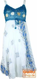 Boho Minikleid, Sommerkleid, Krinkelkleid - weiß/petrol
