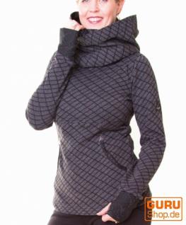 Pullover aus Bio-Baumwolle mit Kapuze / Chapati Design - charcoal black