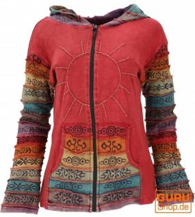 Patchwork Stonewash Regenbogen Jacke mit Zipfelkapuze, Goa Jacke - Modell 3