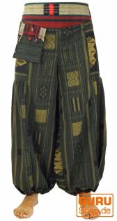 Weite Pluderhose mit breitem gewebtem Bund - khaki