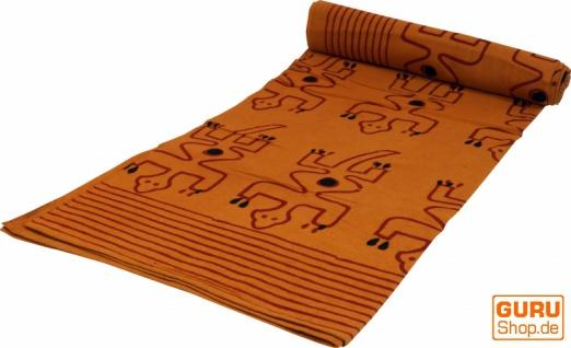 Blockdruck Tagesdecke, Bett & Sofaüberwurf, handgearbeiteter Wandbehang, Wandtuch - gelb Gecko