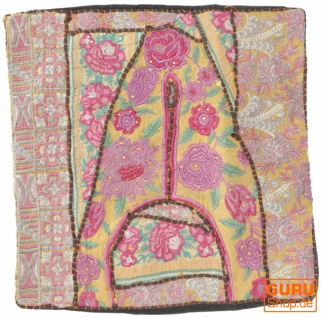 Patchwork Kissenhülle, Dekokissen Bezug aus Rajasthan, Einzelstück - Muster 18