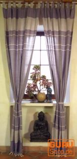 Vorhang, Gardine aus grob gewebter weicher Baumwolle (1 Paar Vorhänge, Gardinen) - lila