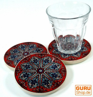 Orientalischer Keramikuntersetzer, runder Untersetzer für Gläser und Tassen mit Mandala Motiv Set - Muster 8