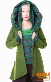 Kurzmantel mit Kapuze / Chapati Design - green