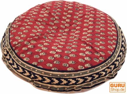 Runde Kissenbezug Blockdruck, Kissenhülle Ethno, Dekokissen Bezug mit traditionellem Design - Paisley rot