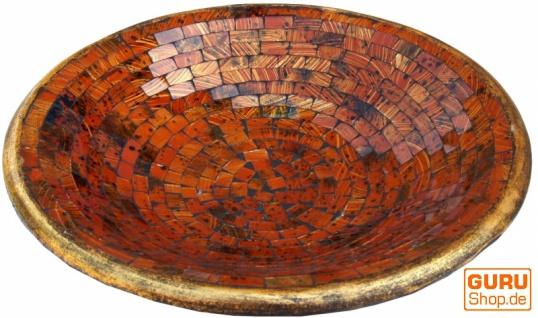 Runde Mosaikschale, Untersetzer, Dekoschale, handgearbeitete Keramik & Glas Obst Schale - Design 3