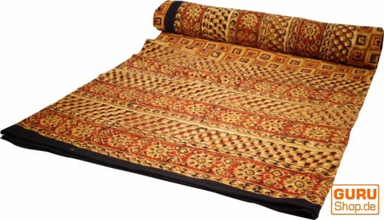 Blockdruck Tagesdecke, Bett & Sofaüberwurf, handgearbeiteter Wandbehang, Wandtuch gelb, braun, orange - Design 14