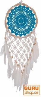 Traumfänger mit gehäkelter Spitze - blau 22 cm