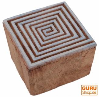 Indischer Textilstempel, Stoffdruckstempel, Blaudruck Stempel, Holz Model - 4*4 cm Spirale 4