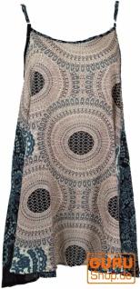 Boho Mandala Minikleid, Trägerkleid, Strandkleid - beige/blau