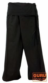 Thai Fischerhose aus Baumwolle, Wickelhose, Yogahose - L/XL schwarz