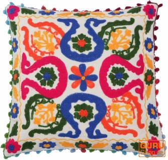 Boho Kissenhülle, farbenfrohes besticktes Folklore Kissen im mexikanischem Style - weiß/pink/blau