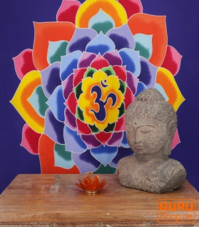 Wandbehang, Wandtuch, Wandbild, Batiktuch - Om im Lotus