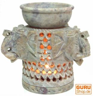 Indische Duftlampe, ätherisches Öl Diffusor, Teelicht Halter für Aromatherapie, Aromalampe aus Speckstein - Drei Elefanten