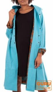 Kurzmantel mit Kapuze/Shortcoat aus Bio-Baumwolle / Chapati Design - aqua