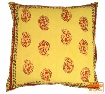 Boho Kissenbezug Blockdruck, Dekokissen, indische Ethno Kissenhülle, Traditionelle Herstellung - Muster 1