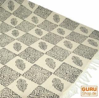 Hangewebter Blockdruck Teppich aus natur Baumwolle mit traditionellem Design - weiß/schwarz Muster 18