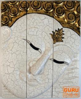 Dreiteiliges Buddhawandbild, weiß gold 51*40 cm - Design 1