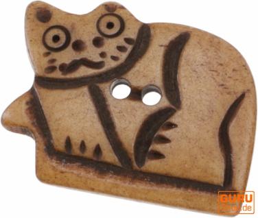 Tibet Knopf aus Horn, Knopf Katze - 13