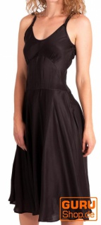 Knielanges Kleid, ärmellos / Chapati Design - black