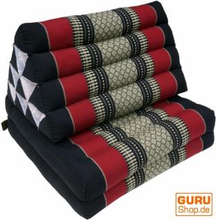 Thaikissen, Dreieckskissen, Kapok, Tagesbett mit 2 Auflagen - schwarz/rot