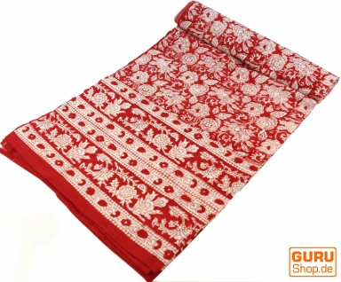 Blockdruck Tagesdecke, Bett & Sofaüberwurf, handgearbeiteter Wandbehang, Wandtuch rot, mehrfarbig - Design 12