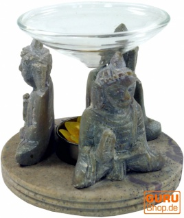 Indische Duftlampe, ätherisches Öl Diffusor, Teelicht Halter für Aromatherapie, Aromalampe aus Speckstein mit Glasteller - Buddha