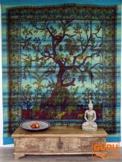 Wandbehang, Tagesdecke Lebensbaum / Tree of life - türkis