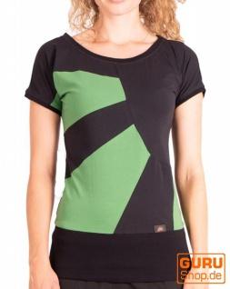 T-Shirt aus Bio-Baumwolle / Chapati Design - black/green