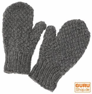 Handgestrickte Fausthandschuhe, Wollhandschuhe, Handschuhe, Fauster - grau