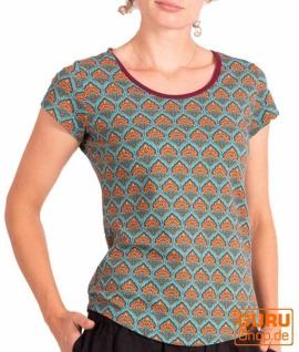 T-Shirt aus Bio-Baumwolle / Chapati Design - turquoise retro