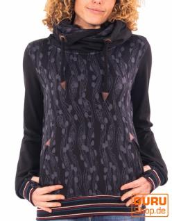 Pullover mit Kapuze aus Bio-Baumwolle / Chapati Design - black berry
