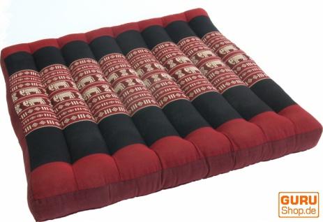 Sitzkissen, Bodenkissen, BodenmatteThai, aus Kapok, 50*50 cm - rot/schwarz