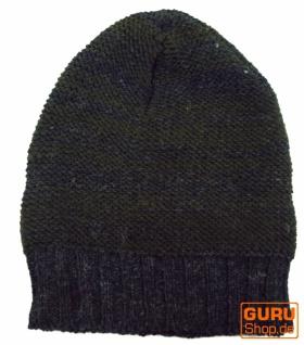 Beanie - Mütze, Strickmütze aus Nepal - Beanie olivgrün/grau 65c069