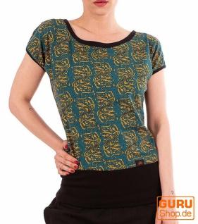 T-Shirt aus Bio-Baumwolle / Chapati Design - petrol wave