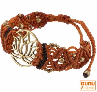 Goa Armband, Makramee, Festival Armband - Lotus/rostorange Modell 24