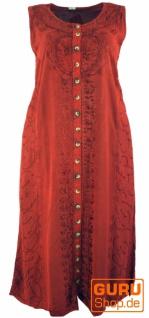 Besticktes Boho Sommerkleid, indisches Hippie Kleid mit Knopfleiste, rot - Design 13
