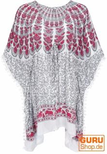 Poncho, Kaftan, Tunika, Minikleid, Damen Übergröße, Kurzarm Strandbluse - weiß