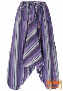 Luftige Goa Pluderhose, gestreifte Aladinhose mit Tasche - lila