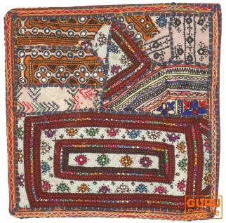 Patchwork Kissenhülle, Dekokissen Bezug aus Rajasthan, Einzelstück - Muster 43