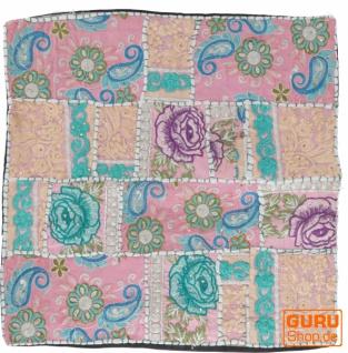 Patchwork Kissenhülle, Dekokissen Bezug aus Rajasthan, Einzelstück - Muster 12