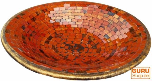 Runde Mosaikschale, Untersetzer, Dekoschale, handgearbeitete Keramik & Glas Obst Schale - Design 2