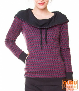 Pullover aus Bio-Baumwolle mit Kapuze / Chapati Design - burg sporty